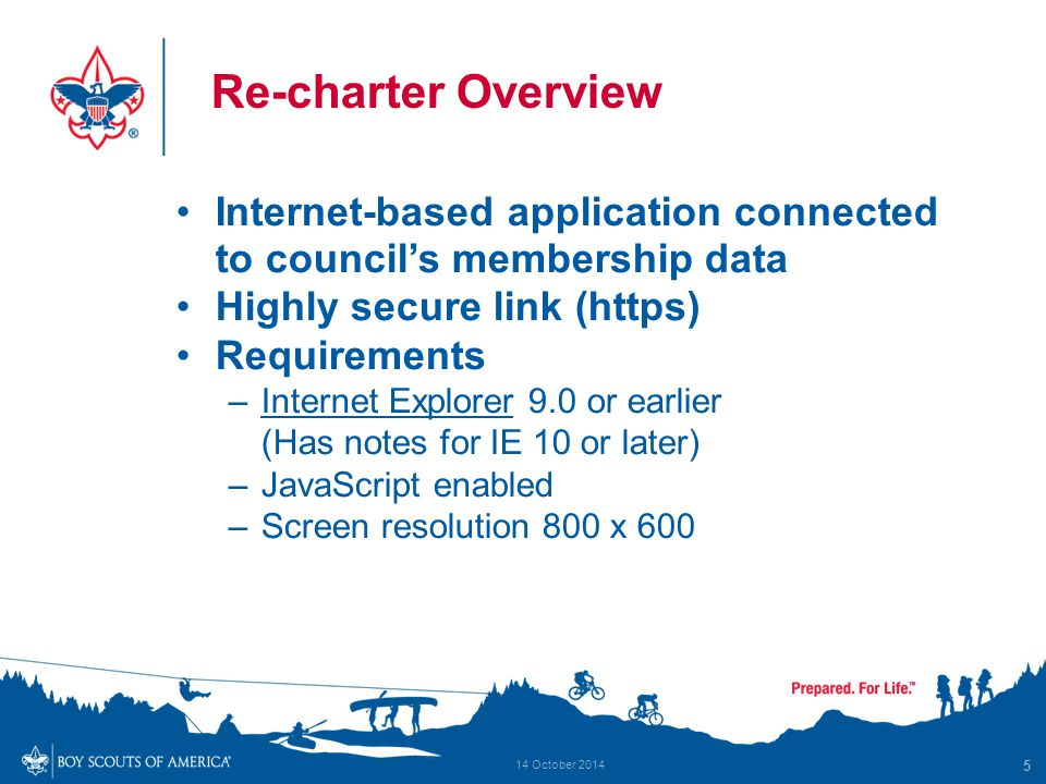 Re-charter Overview Internet-based application connected to council's membership data Highly secure link (https) Requirements –Internet Explorer 9.0 or earlier (Has notes for IE 10 or later) –JavaScript enabled –Screen resolution 800 x 600 5 14 October 2014