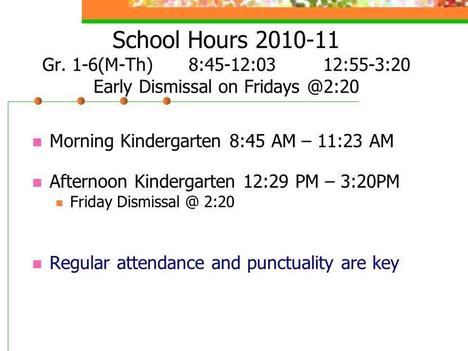 School Hours 2010-11 Gr.