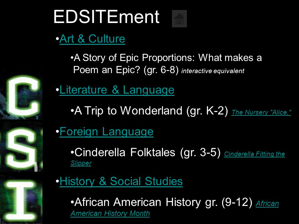 8 EDSITEment Art & Culture A Story of Epic Proportions: What makes a Poem an Epic.