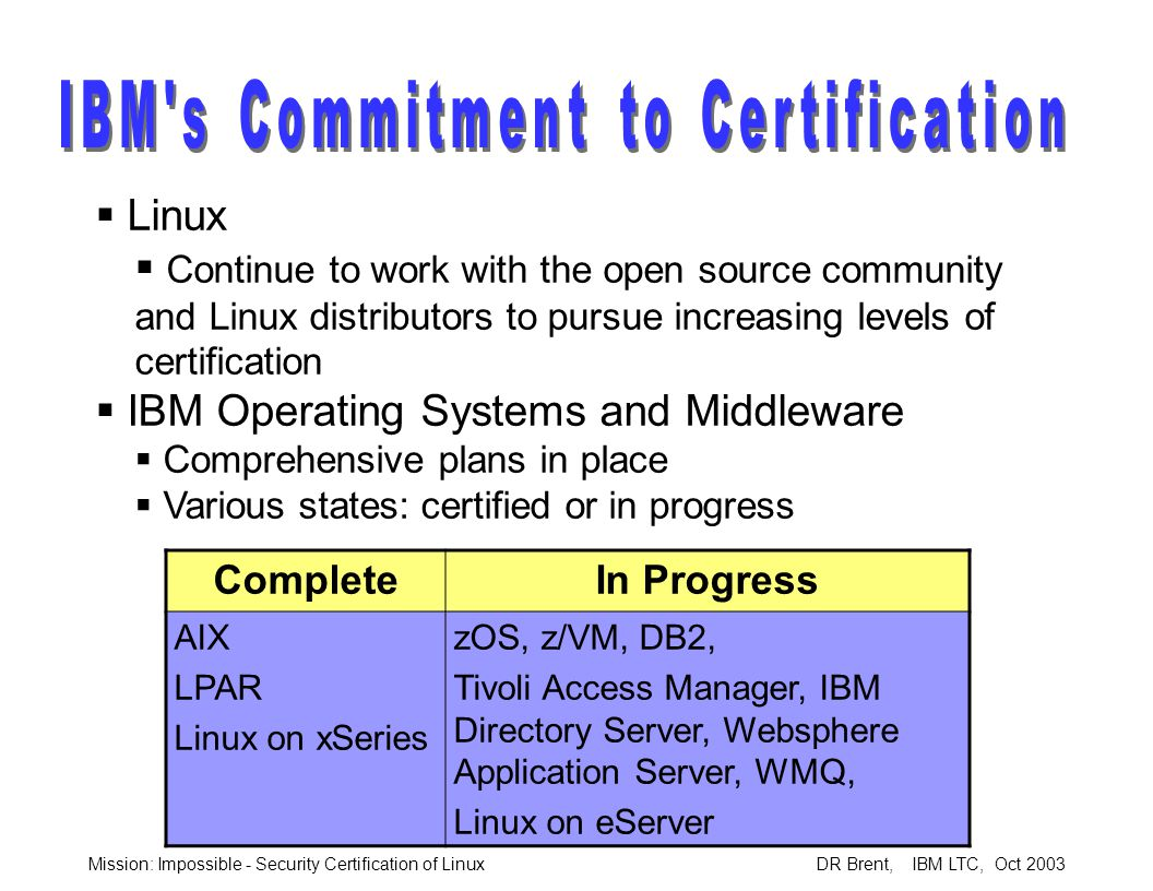 Mission: Impossible - Security Certification of Linux DR Brent, IBM LTC, Oct 2003  Linux  Continue to work with the open source community and Linux distributors to pursue increasing levels of certification  IBM Operating Systems and Middleware  Comprehensive plans in place  Various states: certified or in progress CompleteIn Progress AIX LPAR Linux on xSeries zOS, z/VM, DB2, Tivoli Access Manager, IBM Directory Server, Websphere Application Server, WMQ, Linux on eServer
