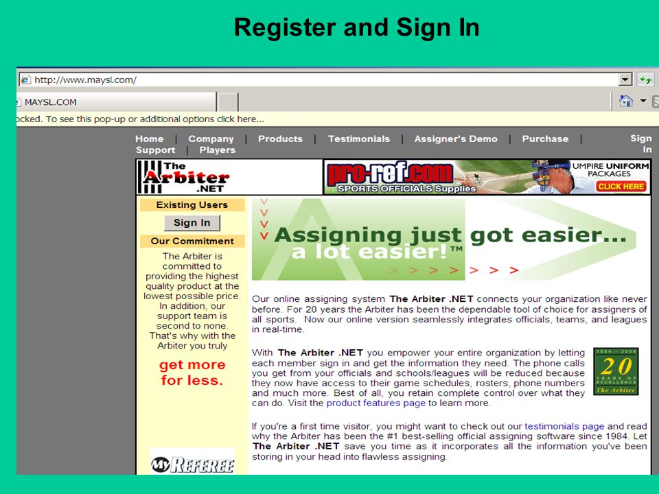 Register and Sign In