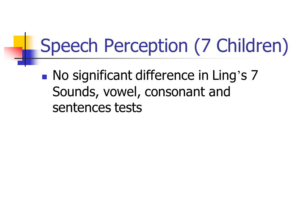 Speech Perception (7 Children) No significant difference in Ling ' s 7 Sounds, vowel, consonant and sentences tests