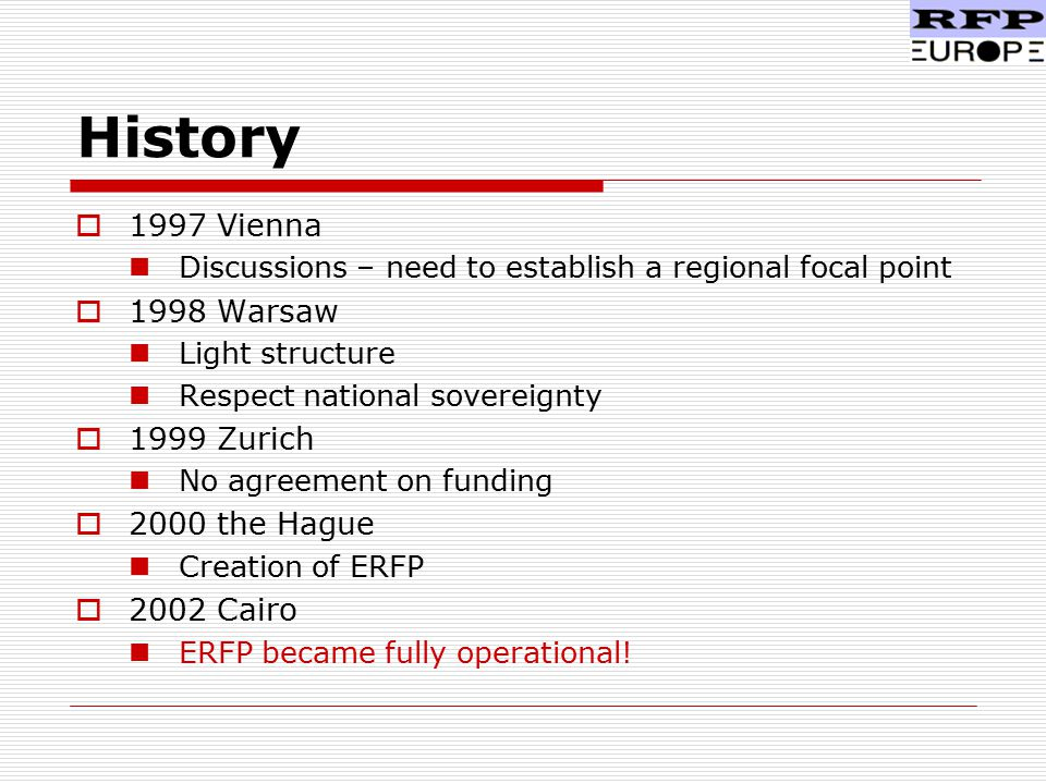 History  1997 Vienna Discussions – need to establish a regional focal point  1998 Warsaw Light structure Respect national sovereignty  1999 Zurich No agreement on funding  2000 the Hague Creation of ERFP  2002 Cairo ERFP became fully operational!