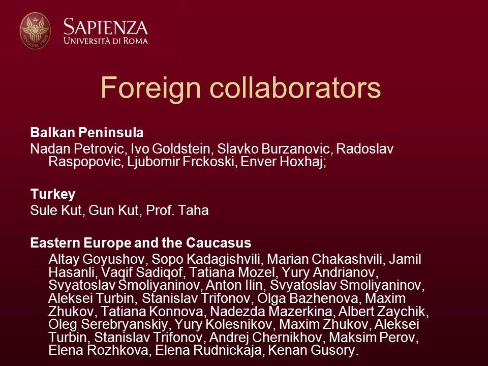 Foreign collaborators Balkan Peninsula Nadan Petrovic, Ivo Goldstein, Slavko Burzanovic, Radoslav Raspopovic, Ljubomir Frckoski, Enver Hoxhaj; Turkey