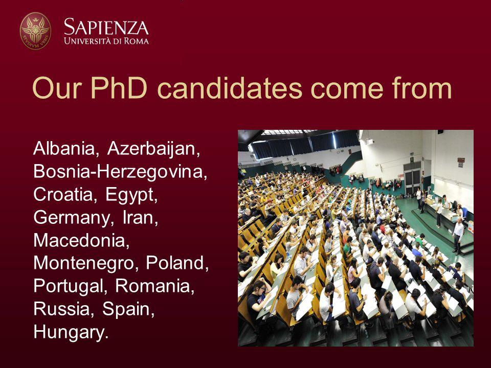 Our PhD candidates come from Albania, Azerbaijan, Bosnia-Herzegovina, Croatia, Egypt, Germany, Iran, Macedonia, Montenegro, Poland, Portugal, Romania, Russia, Spain, Hungary.