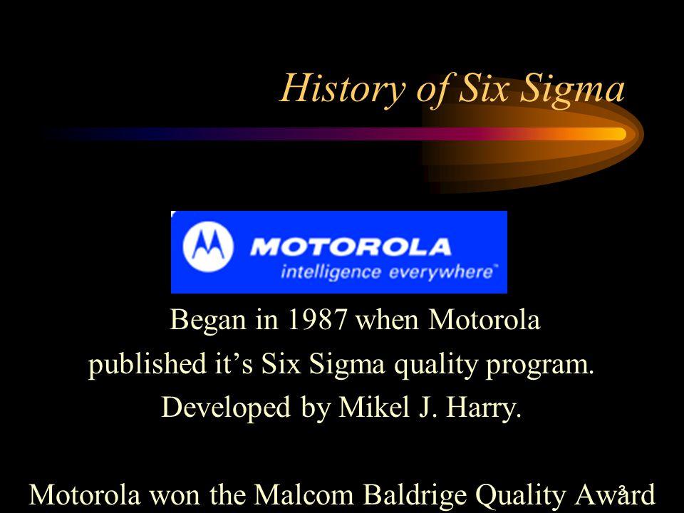 3 History of Six Sigma Began in 1987 when Motorola published it's Six Sigma quality program.