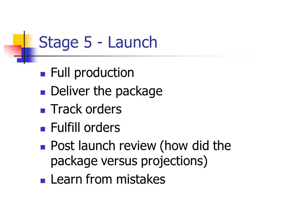 Stage 5 - Launch Full production Deliver the package Track orders Fulfill orders Post launch review (how did the package versus projections) Learn fro