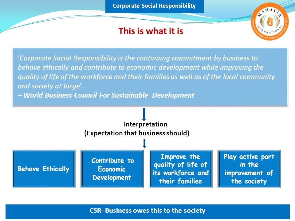 Corporate Social Responsibility CSR- Business owes this to the society 'Corporate Social Responsibility is the continuing commitment by business to behave ethically and contribute to economic development while improving the quality of life of the workforce and their families as well as of the local community and society at large'.