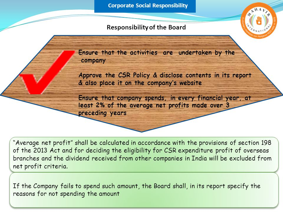Average net profit shall be calculated in accordance with the provisions of section 198 of the 2013 Act and for deciding the eligibility for CSR expenditure profit of overseas branches and the dividend received from other companies in India will be excluded from net profit criteria.