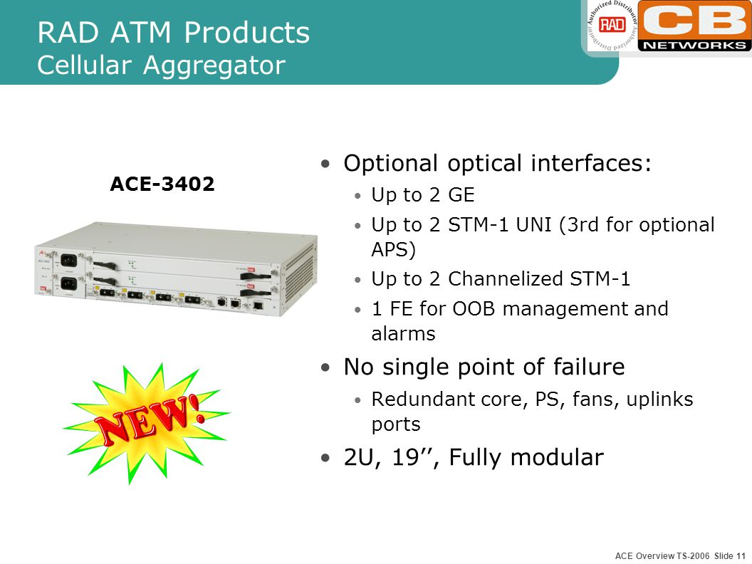 ACE Overview TS-2006 Slide 10 RAD ATM Products Cellular Aggregator ACE-3400 Optional E1/T1/J1 interfaces: 63 E1/T1 Multi-Service ports (TDM, ATM) Optional optical interfaces: Up to 2 GE Up to 2 STM-1 UNI (3rd for optional APS) Up to 2 Channelized STM-1 1 FE for OOB management and alarms No single point of failure Redundant core, PS, fans, uplinks ports 3U, 19'', Fully modular