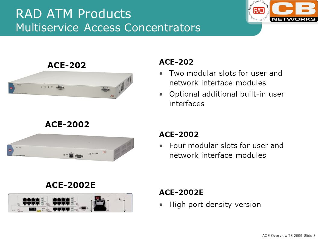 ACE Overview TS-2006 Slide 7 RAD ATM Products Interworking Network Termination Units ACE-52 Low-cost interworking CLE for LAN and TDM/Voice services o