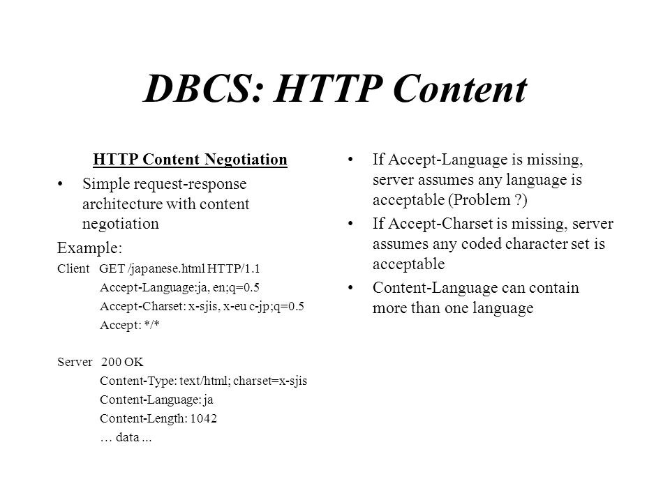 DBCS: HTTP Content HTTP Content Negotiation Simple request-response architecture with content negotiation Example: Client GET /japanese.html HTTP/1.1