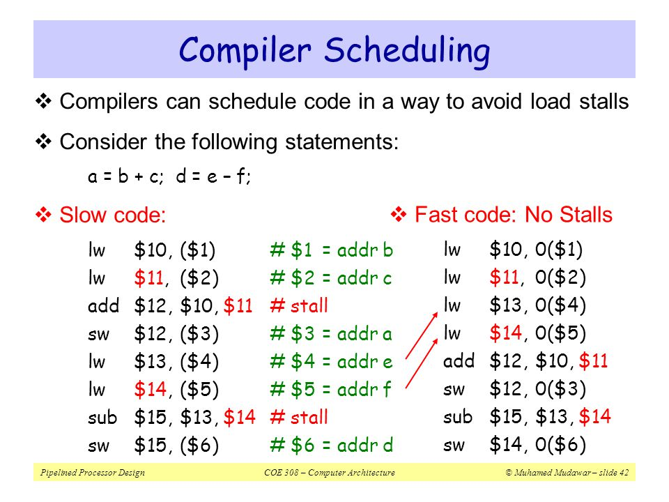 Pipelined Processor DesignCOE 308 – Computer Architecture© Muhamed Mudawar – slide 43  Instruction J should write its result after it is read by I  Called an anti-dependence by compiler writers I: sub $4, $1, $3# $1 is read J: add $1, $2, $3# $1 is written  Results from reuse of the name $1  Hazard occurs when J writes $1 before I reads it  Cannot occur in our basic 5-stage pipeline because:  Reads are always in stage 2, and  Writes are always in stage 5  Instructions are processed in order Write After Read – WAR Hazard