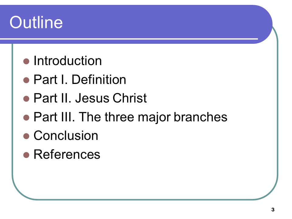 3 Outline Introduction Part I. Definition Part II.
