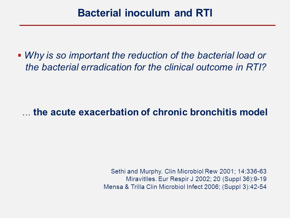 Bacterial inoculum and RTI  Why is so important the reduction of the bacterial load or the bacterial erradication for the clinical outcome in RTI? …