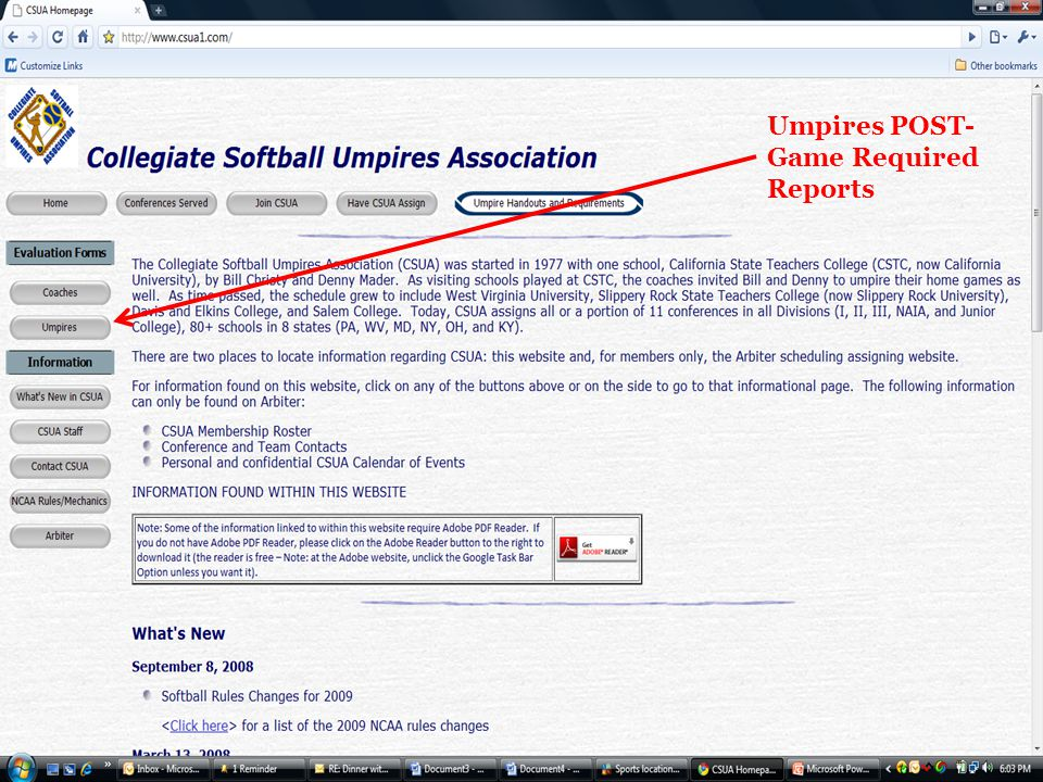Umpires POST- Game Required Reports