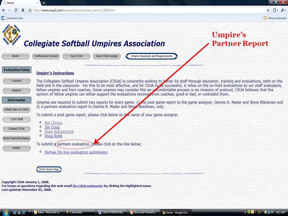 Umpire's Partner Report