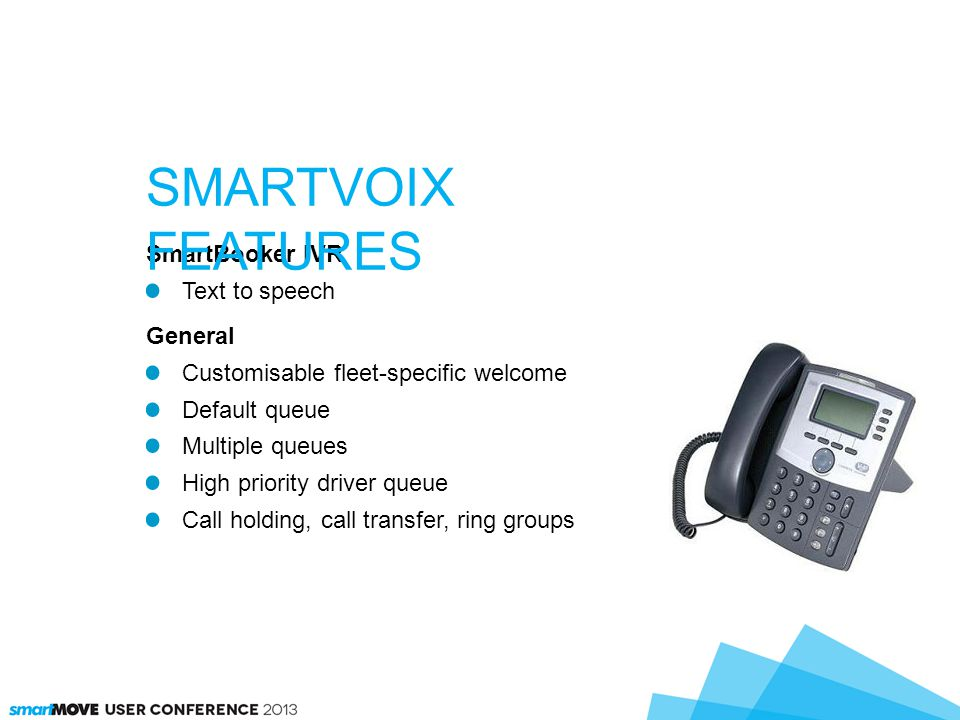 SmartBooker IVR Text to speech General Customisable fleet-specific welcome Default queue Multiple queues High priority driver queue Call holding, call