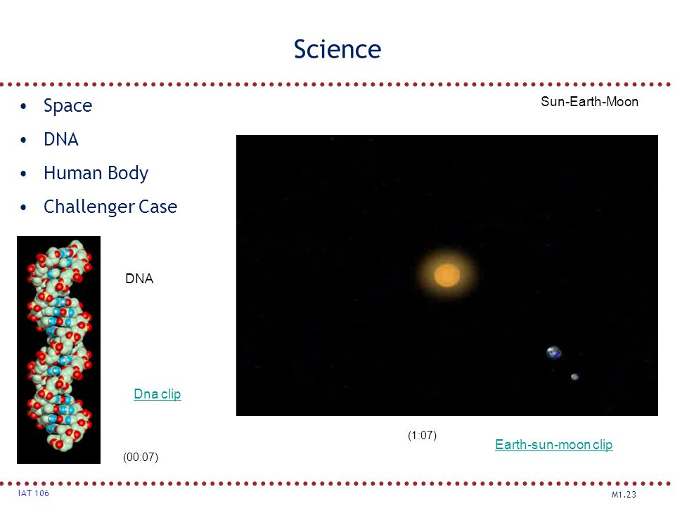 M1.23 IAT 106 Science Space DNA Human Body Challenger Case Sun-Earth-Moon DNA (00:07) (1:07) Earth-sun-moon clip Dna clip