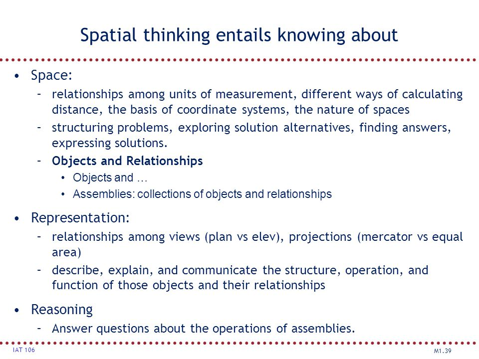 M1.39 IAT 106 Spatial thinking entails knowing about Space: –relationships among units of measurement, different ways of calculating distance, the bas