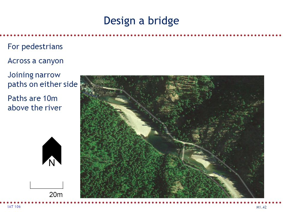 M1.42 IAT 106 Design a bridge For pedestrians Across a canyon Joining narrow paths on either side Paths are 10m above the river 20m N