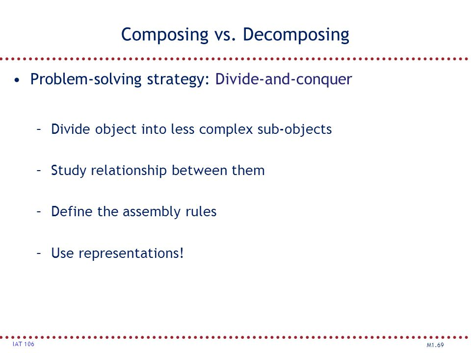 M1.69 IAT 106 Composing vs. Decomposing Problem-solving strategy: Divide-and-conquer strategy –Divide object into less complex sub-objects –Study rela