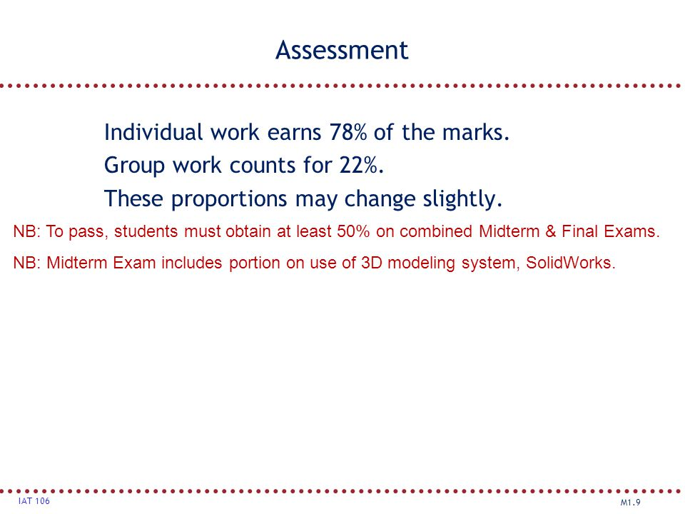 M1.9 IAT 106 Assessment Individual work earns 78% of the marks. Group work counts for 22%. These proportions may change slightly. NB: To pass, student