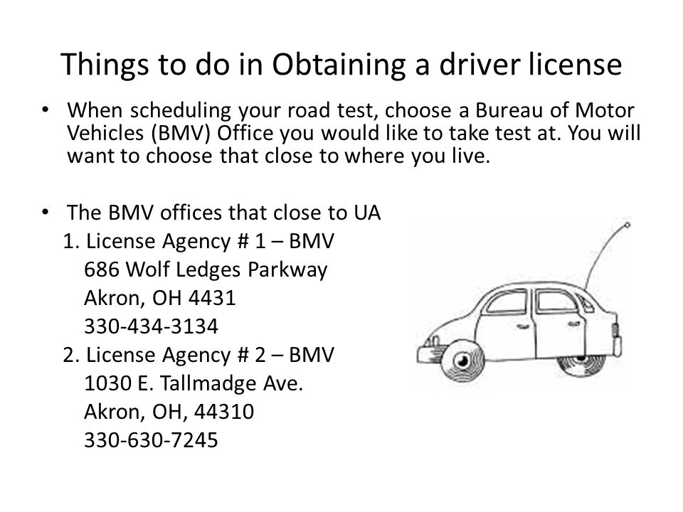 You'll need to make an appointment for your driving tests.