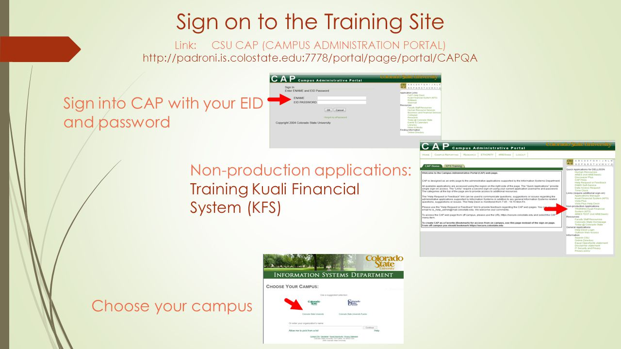 Link: CSU CAP (CAMPUS ADMINISTRATION PORTAL) http://padroni.is.colostate.edu:7778/portal/page/portal/CAPQA Sign into CAP with your EID and password Sign on to the Training Site Non-production applications: Training Kuali Financial System (KFS) Choose your campus