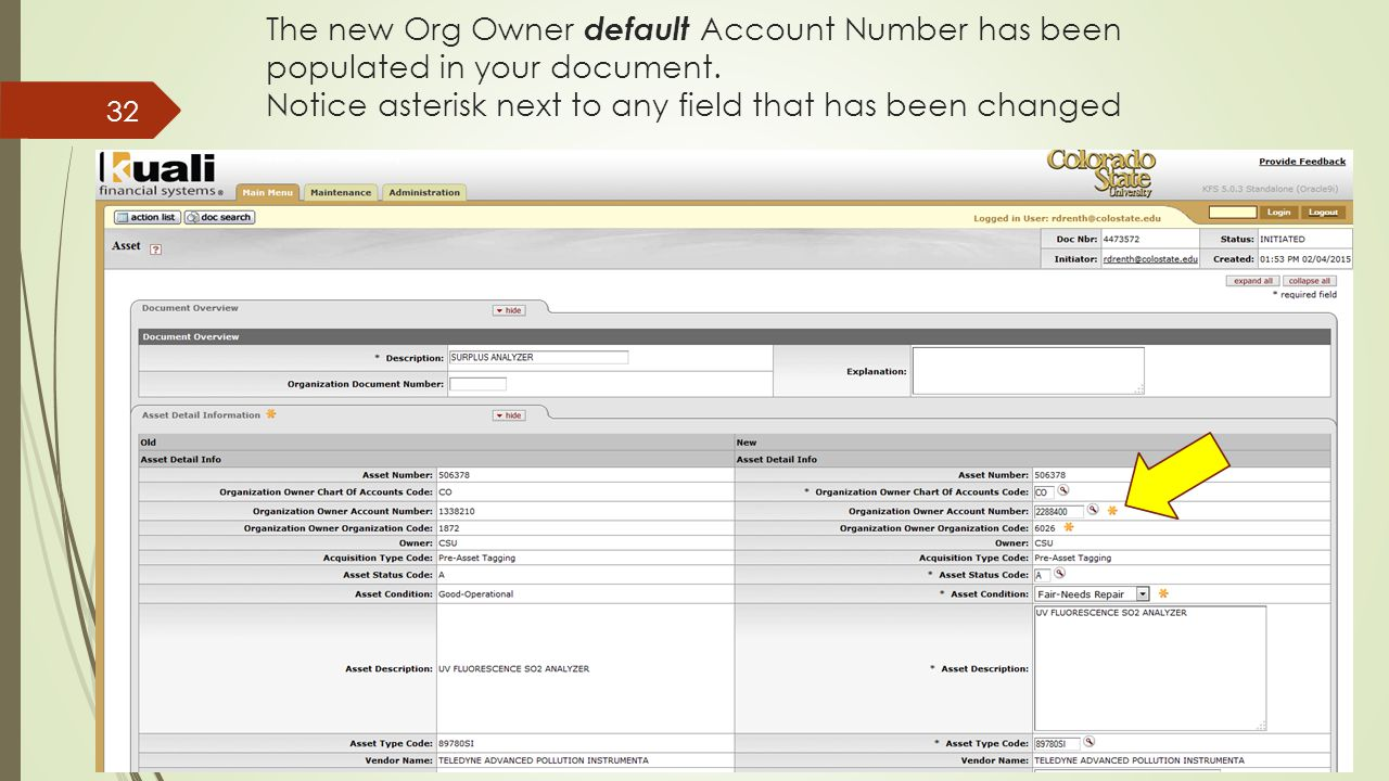 The new Org Owner default Account Number has been populated in your document.