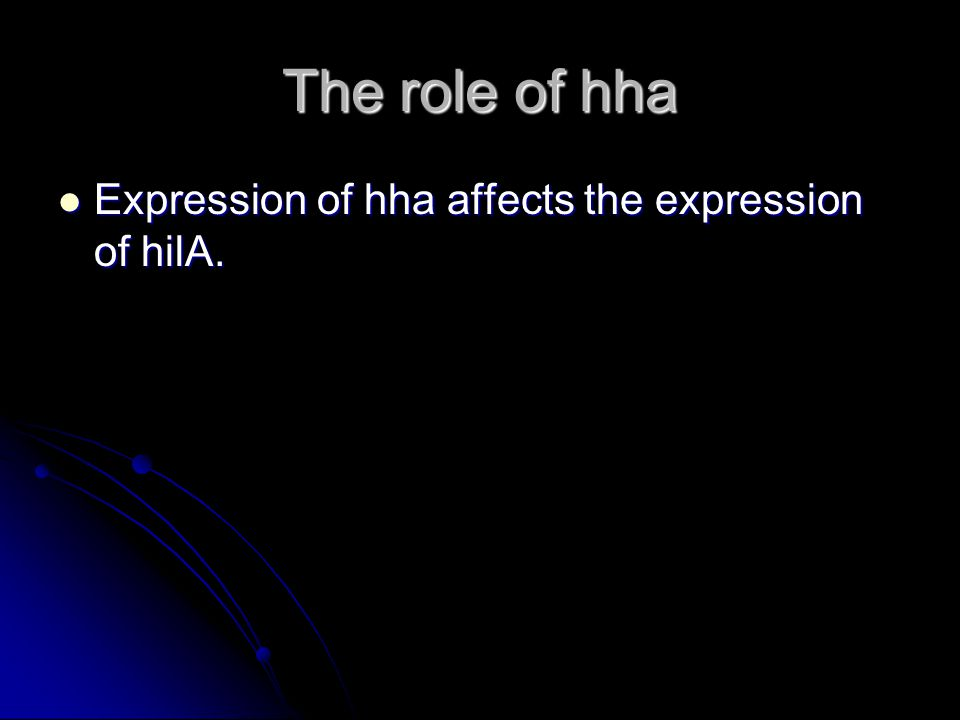 The role of hha Expression of hha affects the expression of hilA.