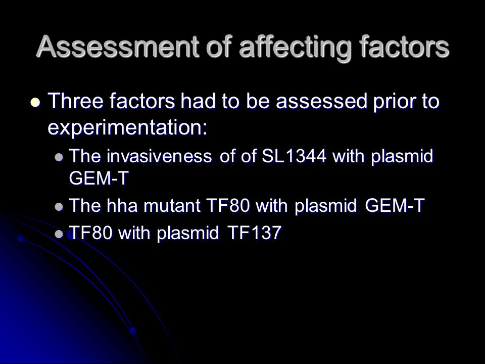 Assessment of affecting factors Three factors had to be assessed prior to experimentation: Three factors had to be assessed prior to experimentation: The invasiveness of of SL1344 with plasmid GEM-T The invasiveness of of SL1344 with plasmid GEM-T The hha mutant TF80 with plasmid GEM-T The hha mutant TF80 with plasmid GEM-T TF80 with plasmid TF137 TF80 with plasmid TF137