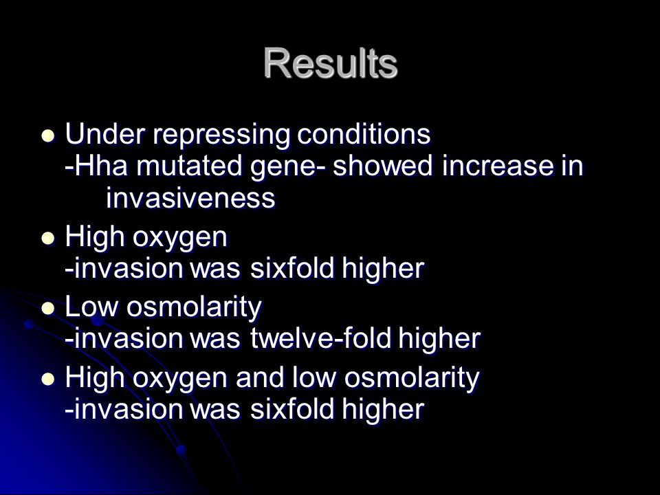 Results Under repressing conditions -Hha mutated gene- showed increase in invasiveness Under repressing conditions -Hha mutated gene- showed increase in invasiveness High oxygen -invasion was sixfold higher High oxygen -invasion was sixfold higher Low osmolarity -invasion was twelve-fold higher Low osmolarity -invasion was twelve-fold higher High oxygen and low osmolarity -invasion was sixfold higher High oxygen and low osmolarity -invasion was sixfold higher