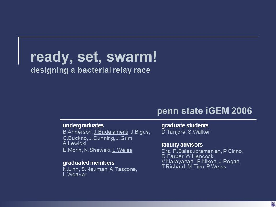 outline penn state team project idea system requirements/ approach to problem strategy subtasks  circuit design  micofabrication progress since iGEM '05 future goals and challenges