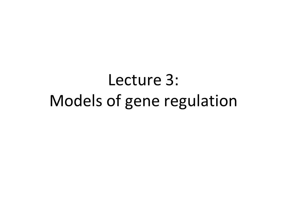 Lecture 3: Models of gene regulation