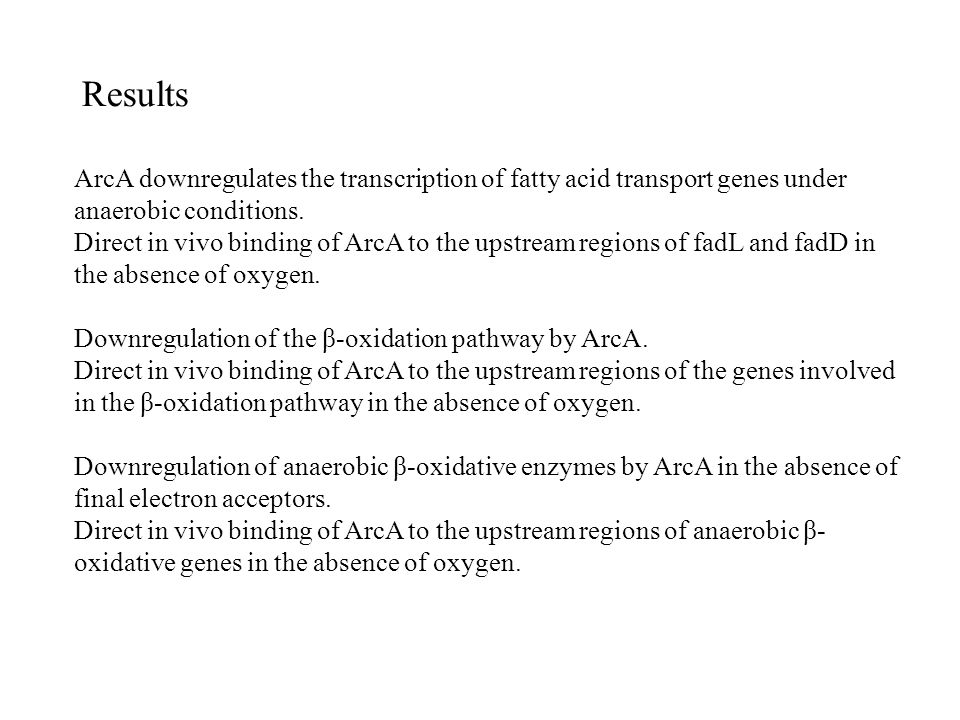 Discussion Evidence (i)FadR repression coincides with ArcA repression for the fatty acid metabolism under anaerobic conditions; (ii)ArcA-P is a DNA-binding protein specific to the upstream of fad regulon genes involved in fatty acid metabolism of E.