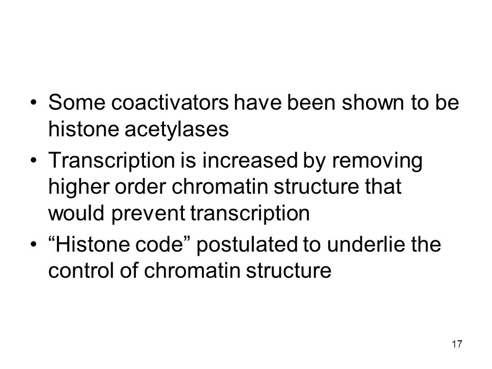 Some coactivators have been shown to be histone acetylases Transcription is increased by removing higher order chromatin structure that would prevent