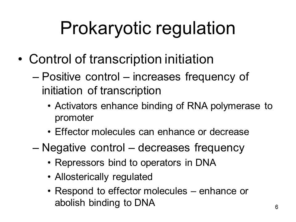 6 Prokaryotic regulation Control of transcription initiation –Positive control – increases frequency of initiation of transcription Activators enhance