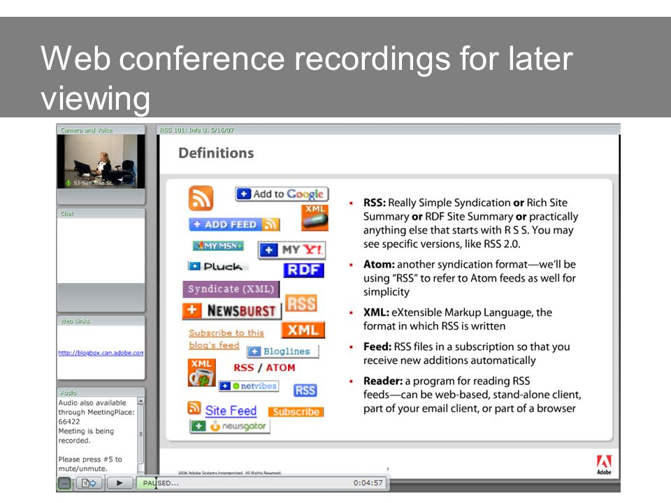 Web conference recordings for later viewing