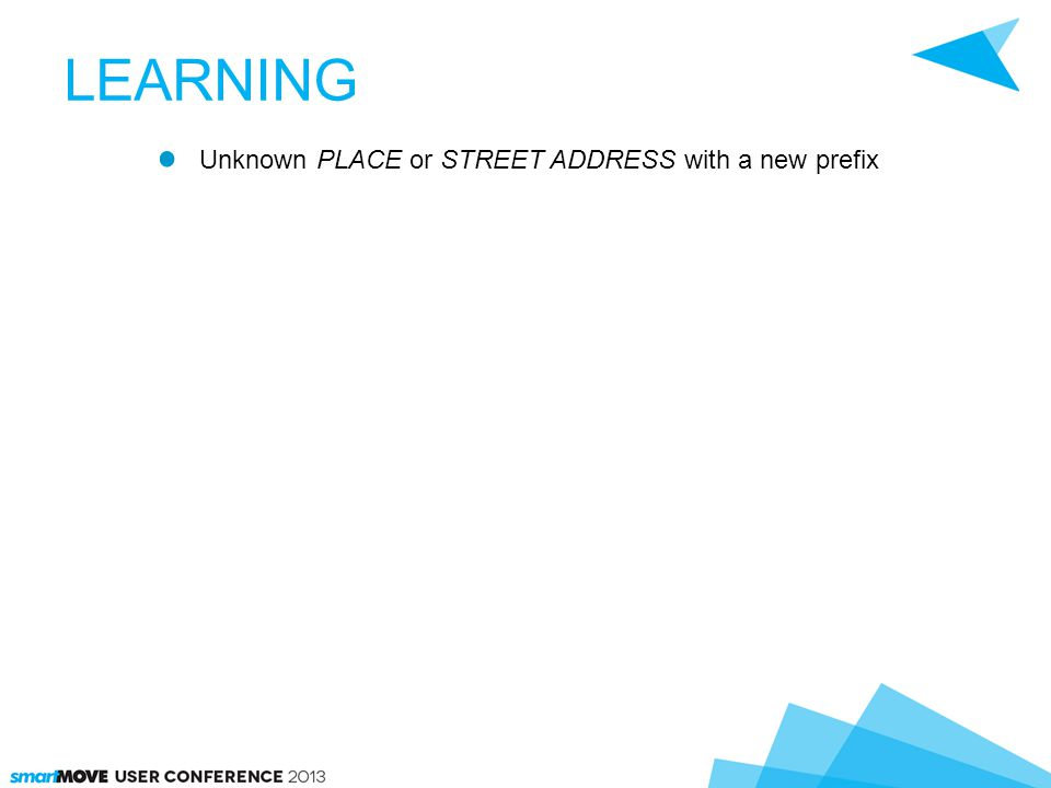 LEARNING Unknown PLACE or STREET ADDRESS with a new prefix