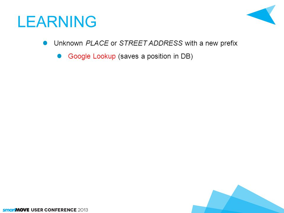 LEARNING Unknown PLACE or STREET ADDRESS with a new prefix Google Lookup (saves a position in DB)