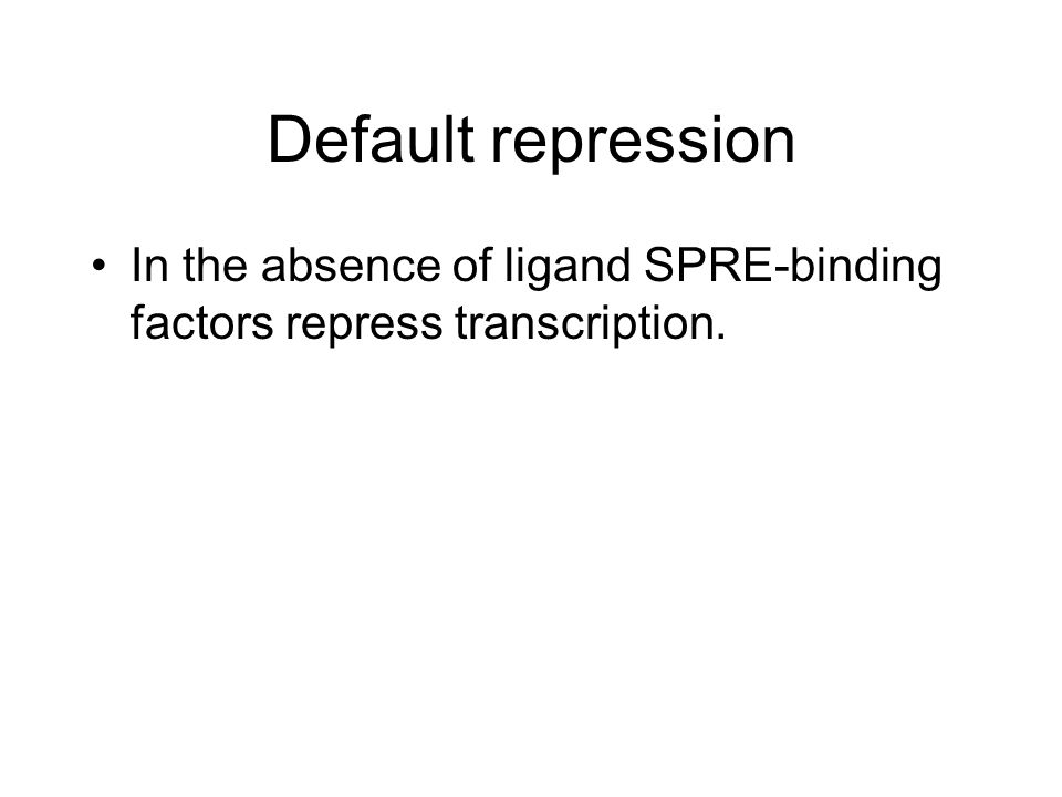 Default repression In the absence of ligand SPRE-binding factors repress transcription.