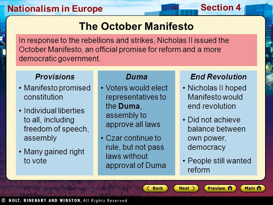 Nationalism in Europe Section 4 In response to the rebellions and strikes, Nicholas II issued the October Manifesto, an official promise for reform and a more democratic government.