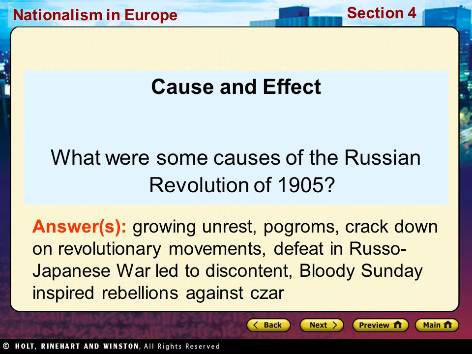 Nationalism in Europe Section 4 Cause and Effect What were some causes of the Russian Revolution of 1905.