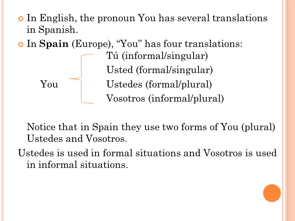 In English, the pronoun You has several translations in Spanish.