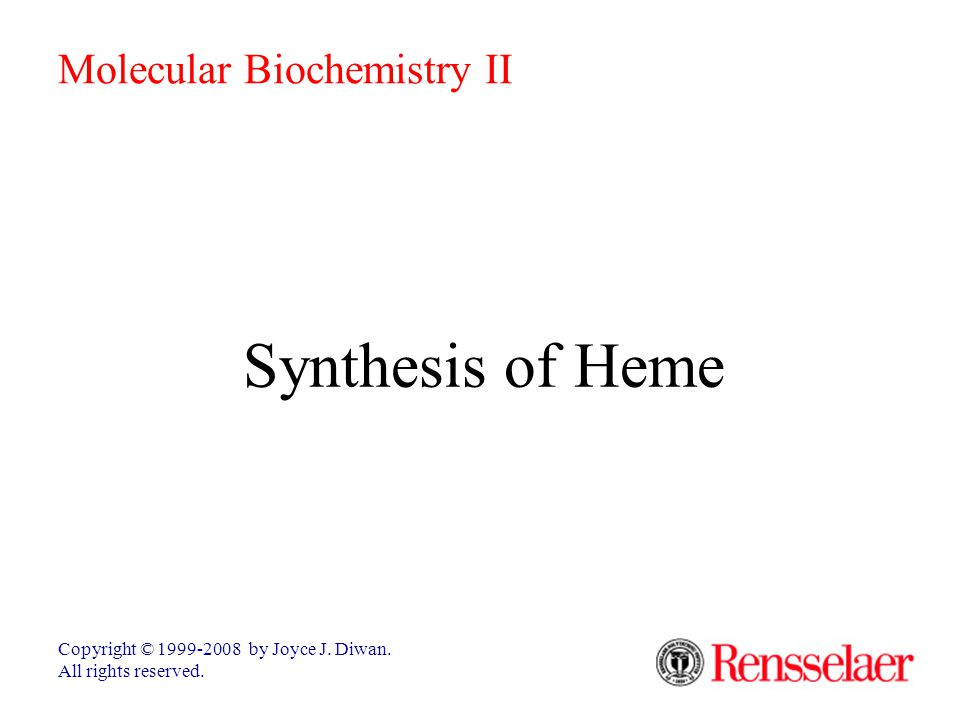 Synthesis of Heme Copyright © 1999-2008 by Joyce J.