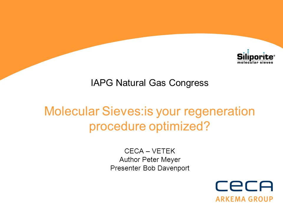 IAPG Natural Gas Congress Molecular Sieves:is your regeneration procedure optimized.