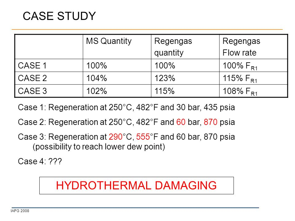 IAPG 2008 CASE STUDY Case 1: Regeneration at 250°C, 482°F and 30 bar, 435 psia Case 2: Regeneration at 250°C, 482°F and 60 bar, 870 psia Case 3: Regeneration at 290°C, 555°F and 60 bar, 870 psia (possibility to reach lower dew point) Case 4: .