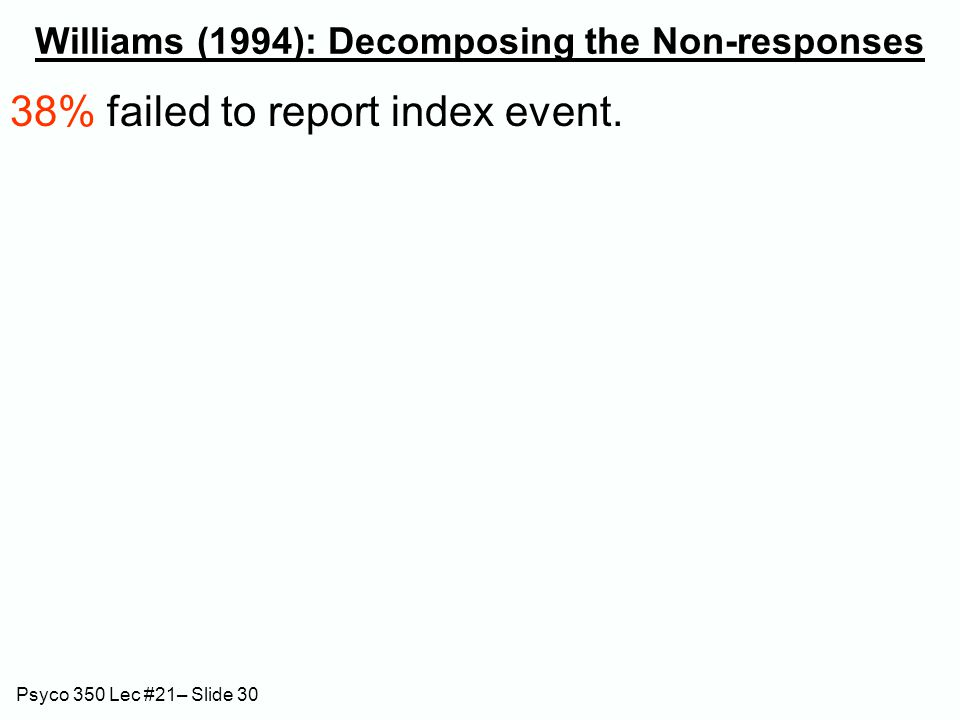Psyco 350 Lec #21– Slide 30 Williams (1994): Decomposing the Non-responses 38% failed to report index event.