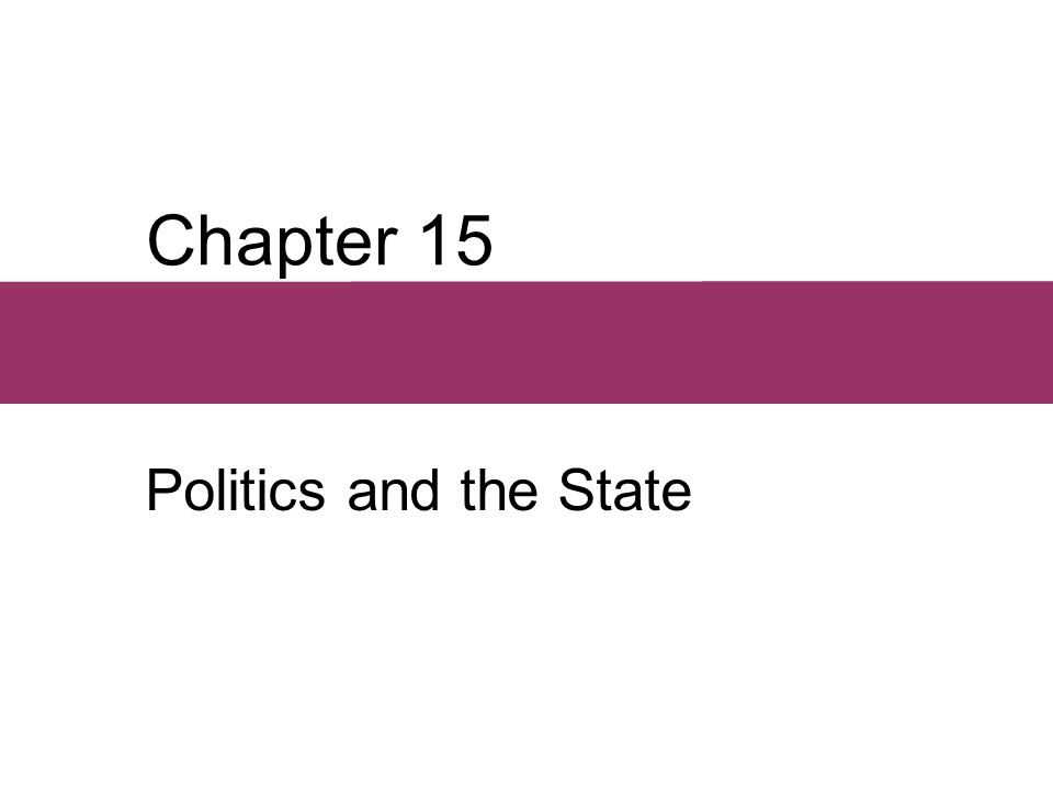 Chapter 15 Politics and the State